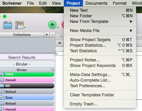 scrivener - show project targets menu