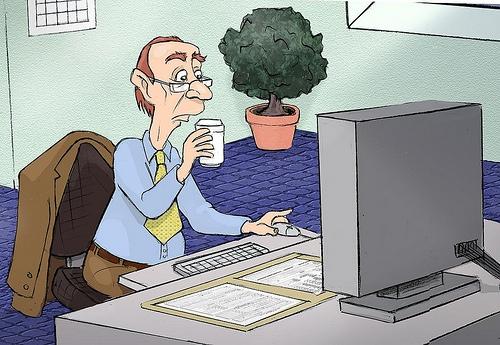Cartoon pic of man at computer